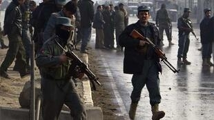 Afghan police at the scene of the Kabul attack