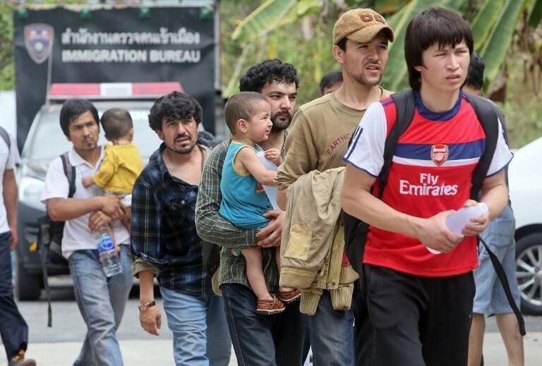 Người Duy Ngô Nhĩ Trung Quốc qua Thái Lan tị nạn. Ảnh chụp tại Songkhla, nam Thái Lan ngày 15/03/2014.