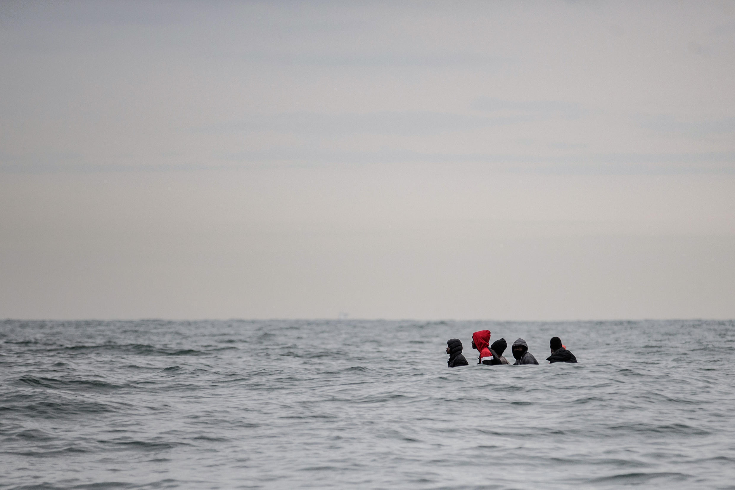 Migrants attempting to cross the Channel in a small boat in August 2020.