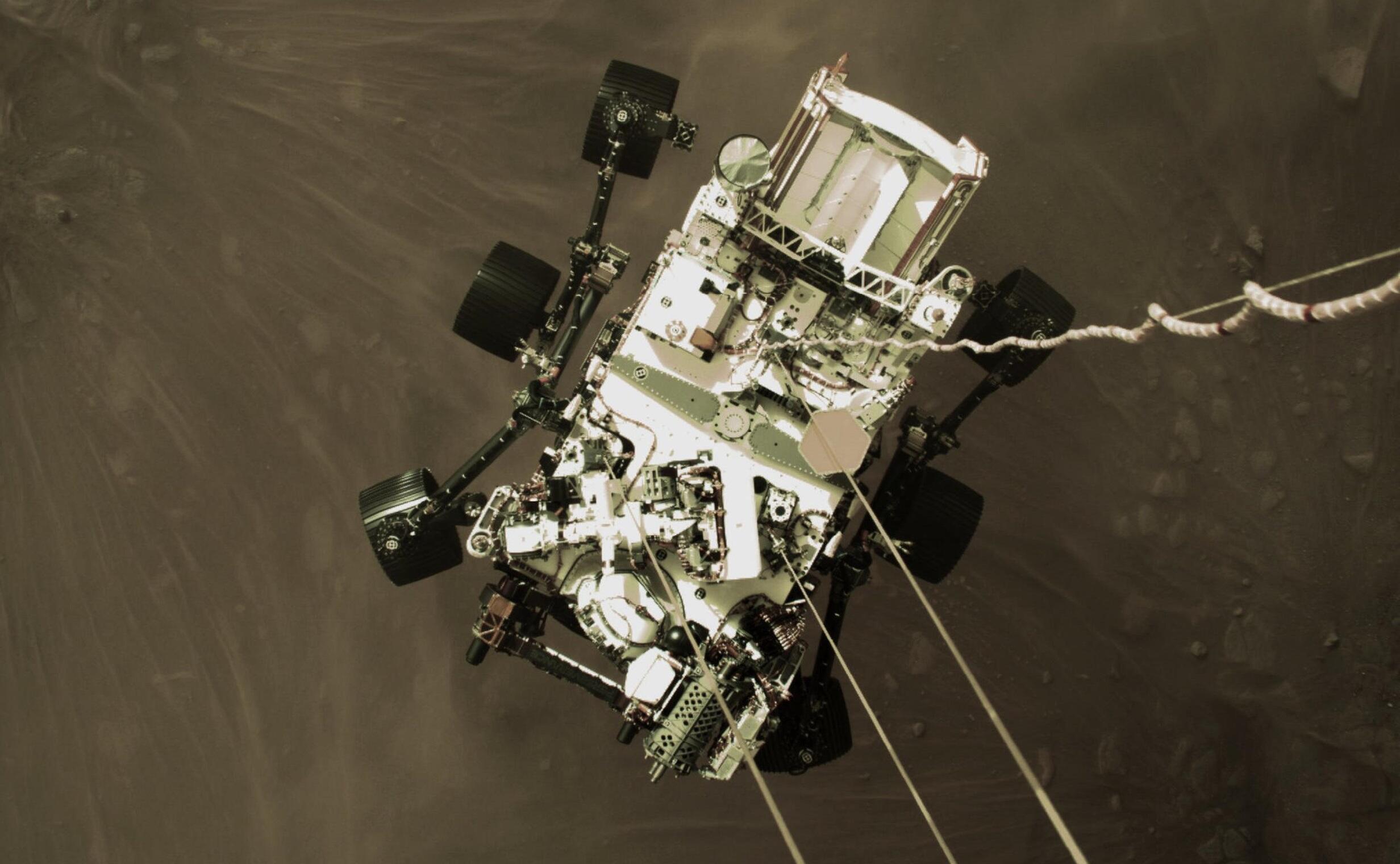 2021-02-19 space mars nasa perseverance rover skycrane maneuver