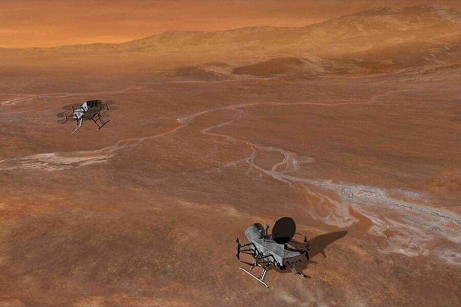 Titán tiene ríos de hidrocarburos y una atmósfera muy densa...ilustración artística.