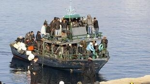 North African migrants on Lampedusa island. March 2011.