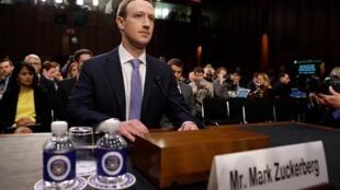 Mark Zuckerberg testemunha no Congresso dos Estados Unidos em 10/04/2018.