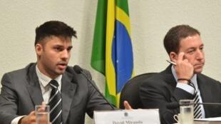 A Comissão Parlamentar de Inquérito (CPI) da Espionagem ouve o jornalista Glenn Greenwald(direita) e o companheiro dele, o brasileiro David Miranda, sobre as denúncias de espionagem do governo dos Estados Unidos ao Brasil.