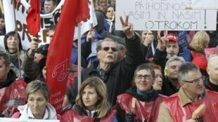 Manifestation contre l'austérité à Ljubljana, en Slovénie, le 17 novembre 2012.