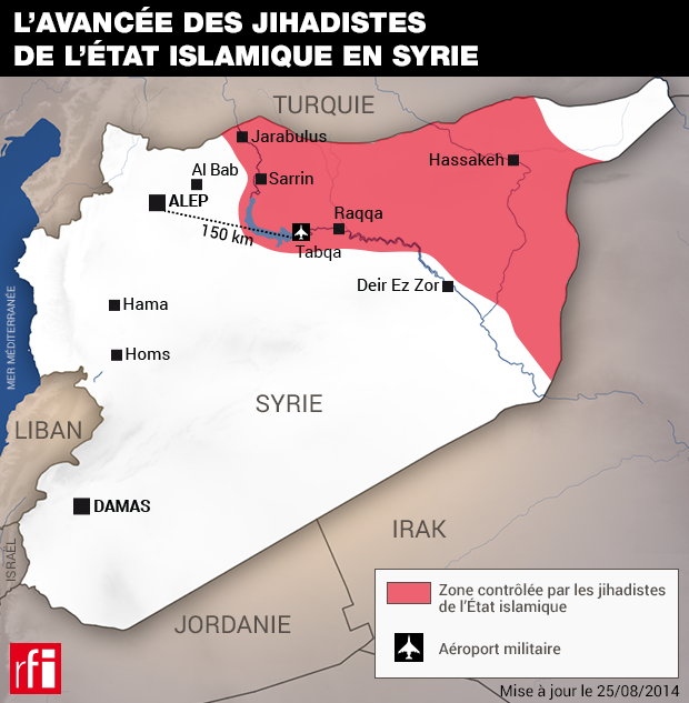 Карта сирийских территорий, захваченных джихадистами