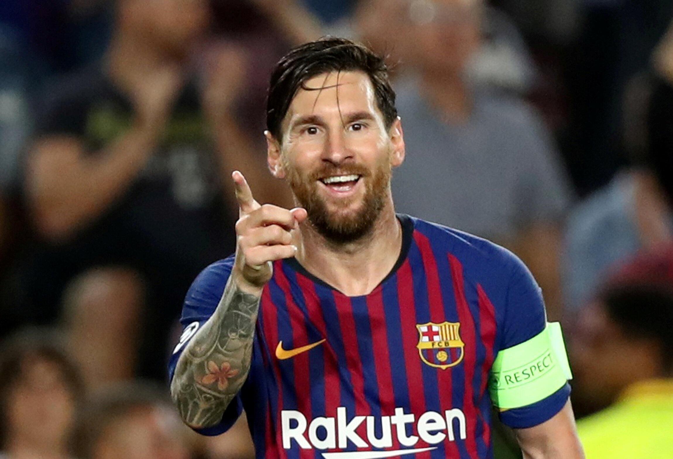 Dan wasan Barcelona Lionel Messi.