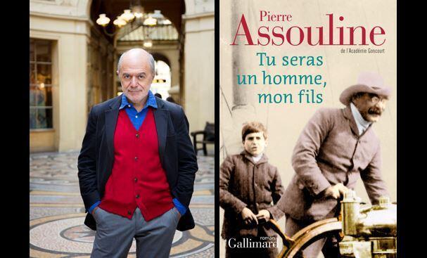 """Photographie portrait de Pierre Assouline et couverture de son livre """"Tu seras un homme, mon fils"""", paru chez Gallimard."""