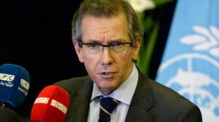 O enviado especial da ONU para a Líbia, Bernardino León, durante uma entrevista coletiva em setembro de 2015, na cidade de Skhirat.
