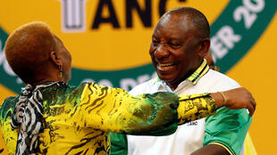 Ramaphosa celebrating his victory at the ANC Elective Conference, 18 December 2017