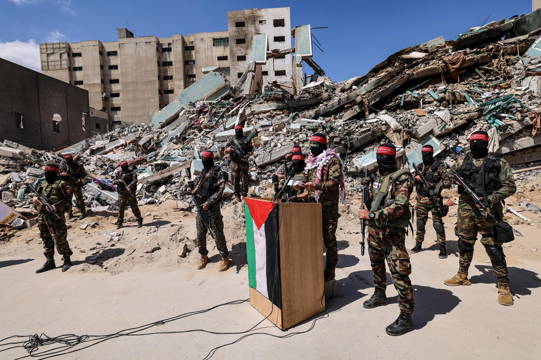 Ruinas de una torre de Gaza destruida por Israel que incluía las oficinas de Associated Press y Al Jazeera el 23 de mayo de 2021
