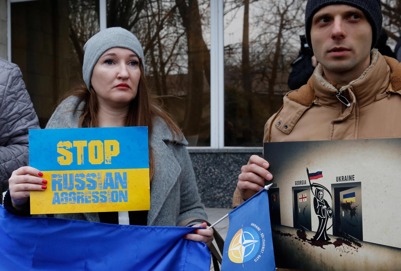 Manifestación de apoya a Ucrania luego de que Rusias capturara navíos ucranianos en el estrecho de Kerch. Odesa, Ucrania, el 26 de noviembre de 2018.