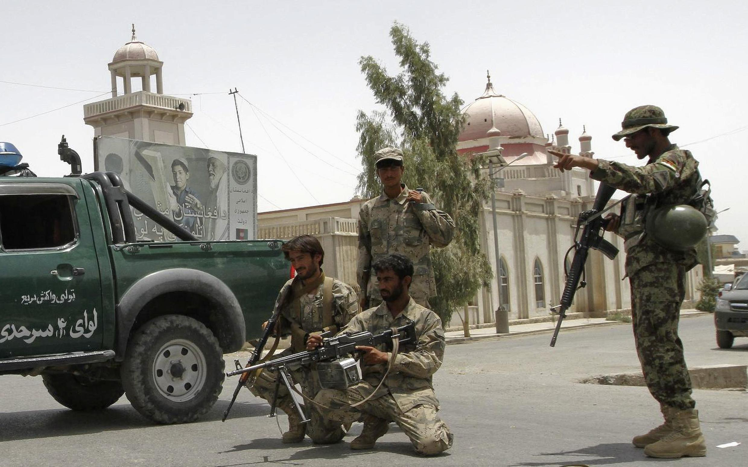 A police roadblock in Kandahar earlier this month