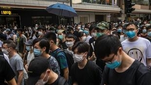 Marcha contra la nueva Ley de seguridad en Hong Kong, 1 de julio de 2020.
