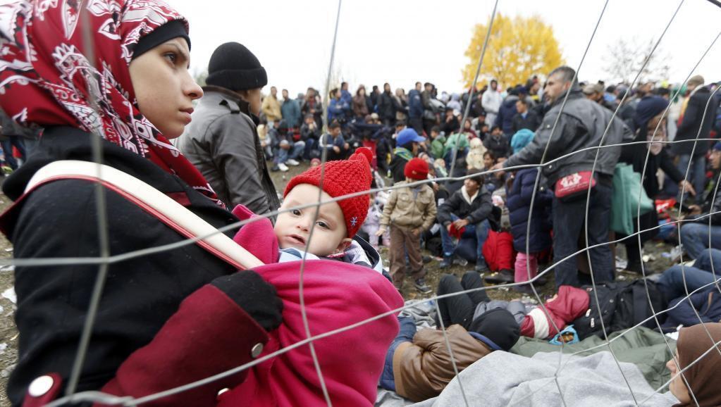 Migrantes na fronteira da Áustria com a Eslovênia, no último mês de outubro.