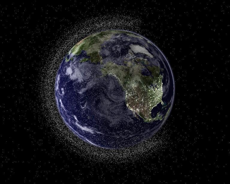 Earth from geostationary height depicting swarms of space debris