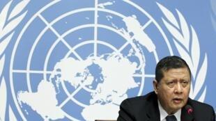 Le rapporteur spécial sur la Corée du Nord, Marzuki Darusman, lors de la conférence sur la situation des droits de l'homme en Corée du Nord, le 16 mars 2015.