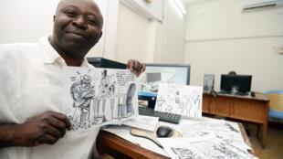 Le dessinateur congolais Thembo Kash en 2013.