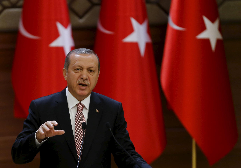 Le président turc Recep Tayyip Erdogan, lors d'un discours au palais présidentiel, à Ankara, le 26 novembre 2015.
