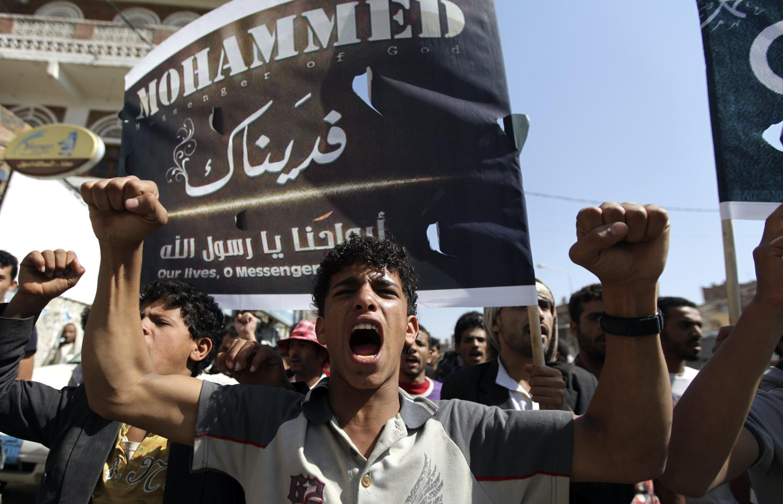 Протестующие у посольства США в Йемене. Санаа 13/09/2012