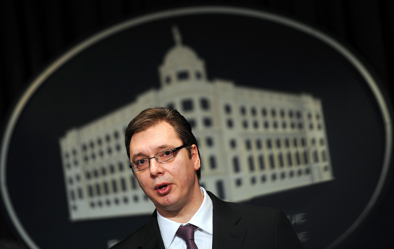 Aleksandar Vučić, vice-Premier ministre (SNS) et nouvel homme fort de Serbie, ici le 14 janvier dernier lors d'une conférence de presse à Belgrade.