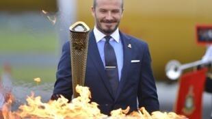David Beckham à la cérémonie des Jeux Olympiques de Londres 2012.