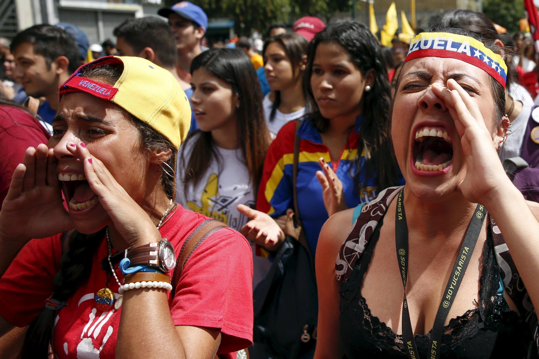 Manifestation de l'opposition vénézuélienne, à Caracas, le 21 novembre 2015.