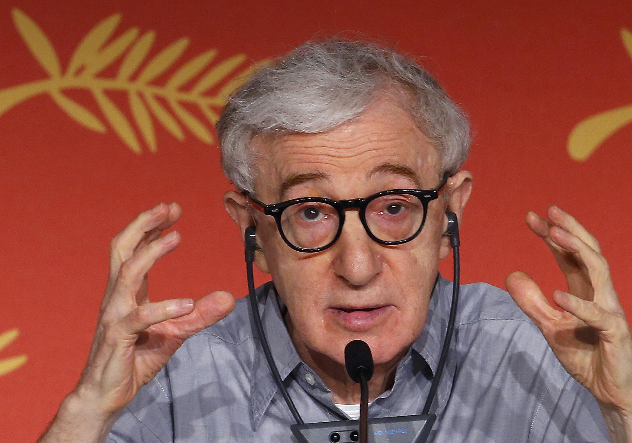 """Director Woody Allen gestures as he attends a news conference for the film """"Cafe Society"""" out of competition, before the opening of the 69th Cannes Film Festival in Cannes, France, May 11, 2016."""