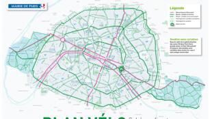 En rouge, le nouveau Réseau Express Vélo est-ouest/nord-sud pour traverser paris...comme dans un REV.