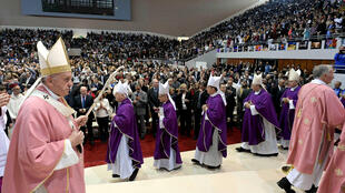Le Pape François célébrant une grande messe à Rabat, au Maroc, ce 31 mars 2019.
