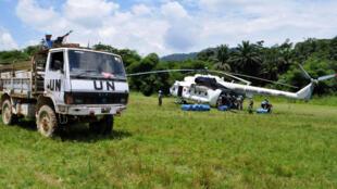 Goma, Nord-Kivu, RD Congo: Un hélicoptère MI-8 des casques bleus délivre des provisions à un contingent (photo d'illustration).