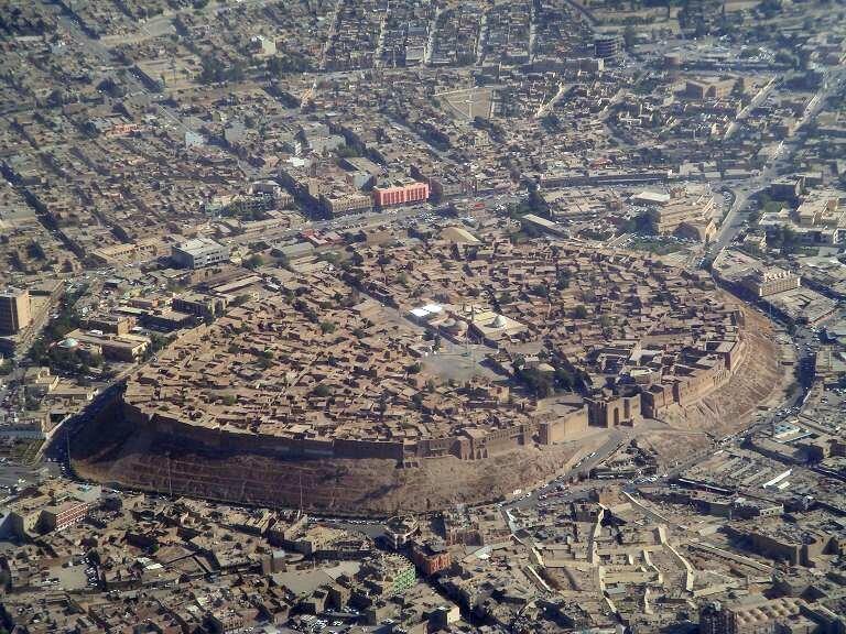 Aerial view of the Citadel of Erbil in Iraqi Kurdistan