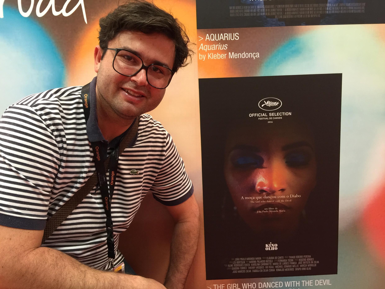 João Paulo Miranda Maria, no stand brasileiro do Mercado do Filme, no Festival de Cannes