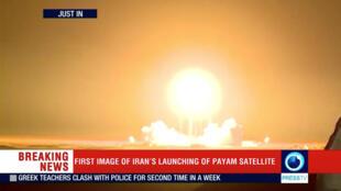 Des images du lancement du satellite iranien à la télévision.