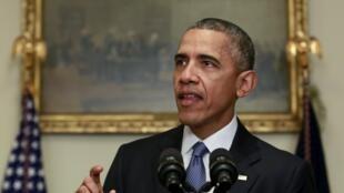 Barack Obama estime que l'accord de Paris est susceptible de marquer un tournant dans la lutte contre le changement climatique.Leprésident américain, lors de son discours à la Maison Blanche, le 12 décembre 2015.