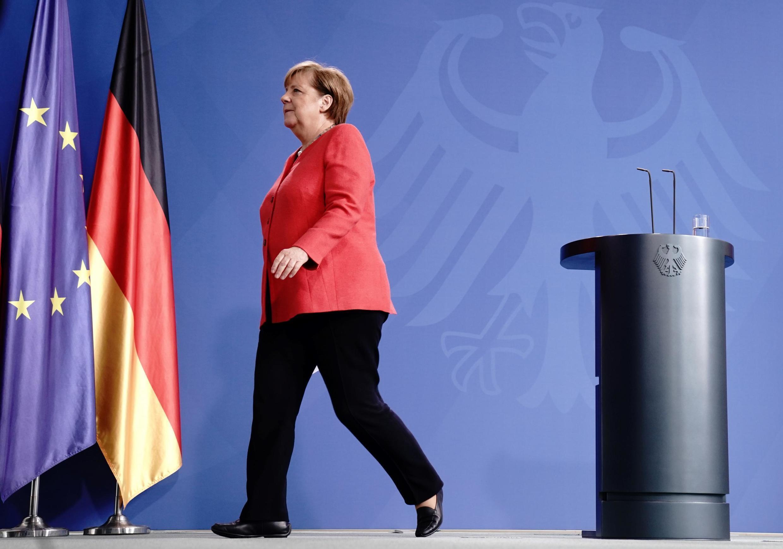 A chanceler alemã Angela Merkel após uma coletiva de imprensa em videoconferência com membros do Conselho Europeu, em 19 de junho de 2020, em Berlim.
