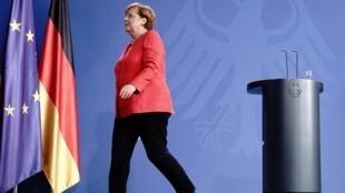 A chanceler alemã Angela Merkel após uma conferência de imprensa em sua reunião de videoconferência com membros do Conselho Europeu em 19 de junho de 2020 em Berlim.