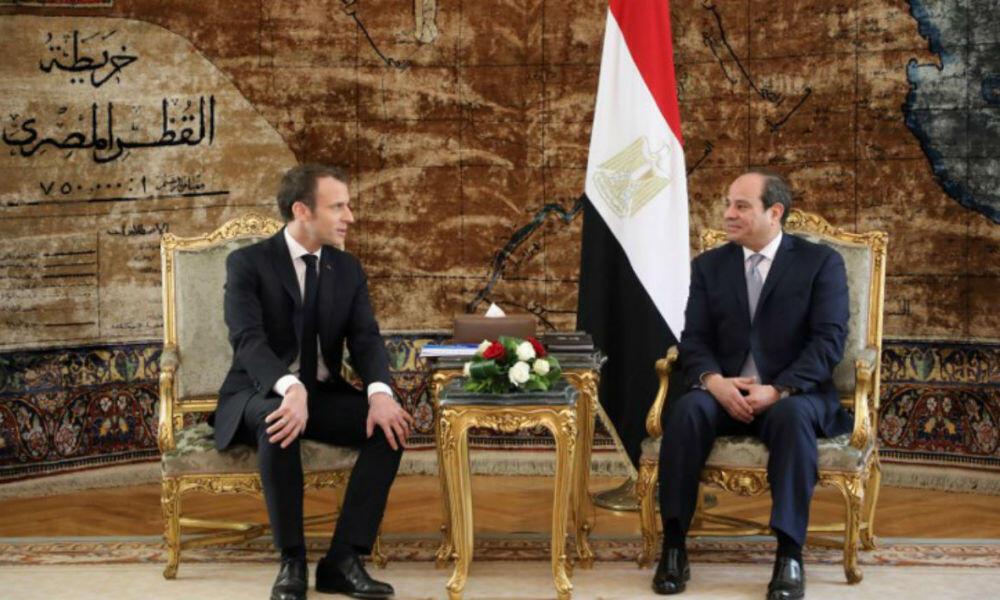 法國總統馬克龍出訪埃及三天。到訪第一天和埃及總統塞西舉行會談      2019年1月28日