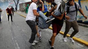 Un manifestante herido en las protestas, Caracas, 10 de abril de 2017.