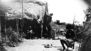 A labourers' camp at Mayumbe during the construction of the Congo-Ocean railway line