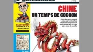 """Trang bìa tuần báo Courrier International từ 17-23/01/2019 - với tựa chính """"Trung Quốc: Thời tiết 'xấu như heo'"""""""
