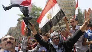 Egipcios celebran la victoria de Abdel Fatah al Sisi, este 29 de mayo en El Cairo.