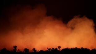 Zona de Humaita, na Amazónia, no Brasil, em chamas a 17 de Agosto de 2019.
