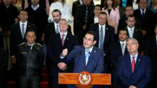 圖為危地馬拉總統莫拉萊斯2019年1月7日舉行記者新聞發布會宣布解除與聯合國反貪調查委員會協議。