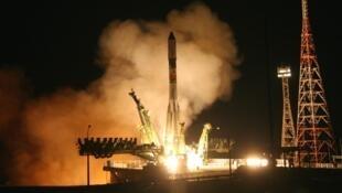 Lançamento de foguete na Agência Espacial Nacional Russa, a Roscosmos.