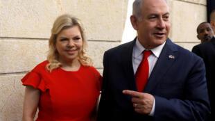 O Primeiro-ministro de Israel Benyamin Netanyahu e a sua esposa Sara em Jerusalém. 14 de Maio de 2018