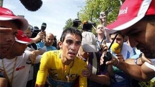 Contador after crossing the finish line of the 19th stage