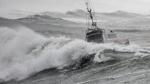 The National Society of Sea Rescue (SNSM) boat SNS 061 sails off the coast of Les Sables-d'Olonne on 7 June, 2019, few moments before capsizing as storm Miguel hits the region.