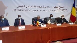 Réunion des ministres des Affaires étrangères du G5 Sahel à Nouakchott, Mauritanie, le 5 octobre 2020.