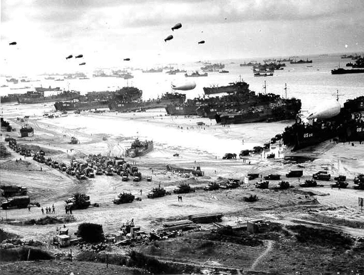 Omaha Beach secured after D-Day in June 1944.
